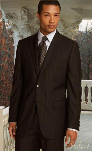 Brown Color Shade Classic Relax Fit Pinstripe Mens Suit, act now only $199.00