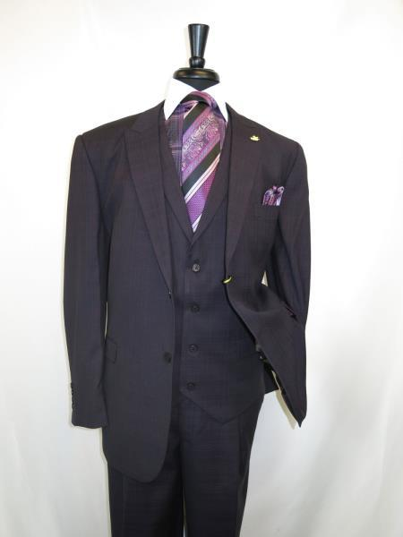 Black Purple Single Breasted Lapel Suit For Mens , act now only $175.00