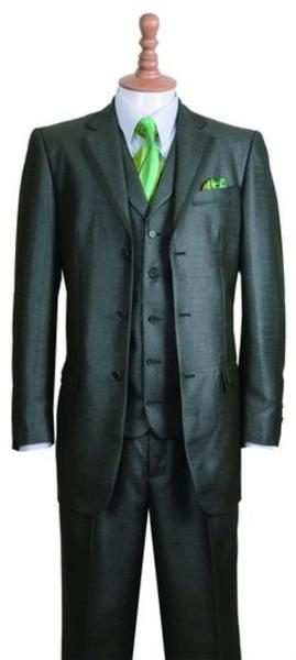 Three Button Style Notch Lapel Mens Suit In Olive, act now only $135.00