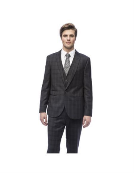 One Button Charcoal Slim Fit Peak Lapel Vested Mens Suit, act now only $128.00