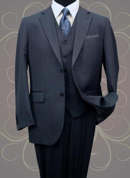 Two Button Style Mini Pinstripe Mens Suit In Navy , act now only $199.00