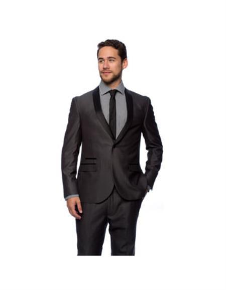 One button closure  Charcoal Shall Collar Mens Tuxedo, act now only $150.00