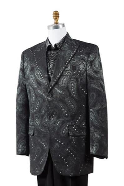 Liquid Jet Black Two Button Full Cut Jacket Mens Suit, act now only $175.00