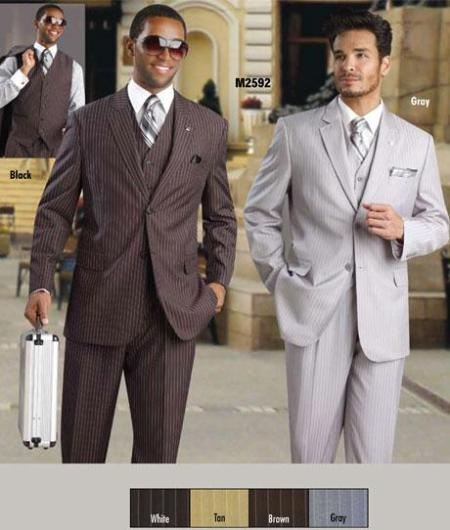 Two Button Mens four Colours White Chalk Pinstripe Suit, act now only $175.00