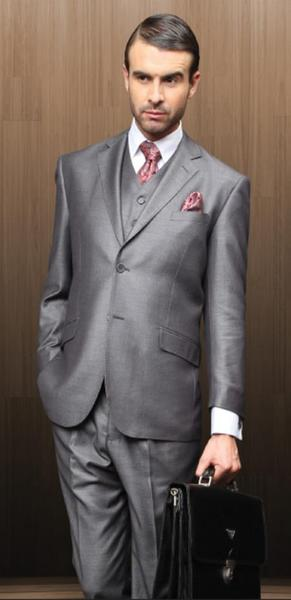 Gray Two Button Style Notch Lapel Mens Suit, act now only $175.00