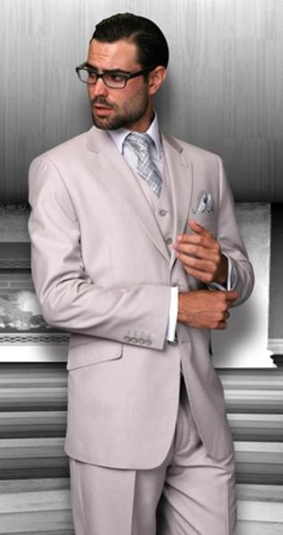 Sand Notched Lapel Three Piece Regular Fit Mens Suit, act now only $170.00