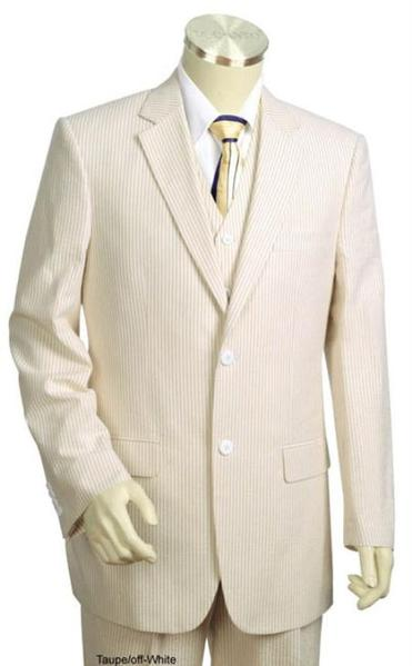Taupe Cotton Summer Seersucker Fabric Mens Suits, act now only $175.00