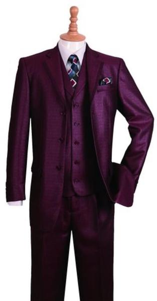 Notch Lapel Mens Burgundy Three Button Style Suit, act now only $135.00