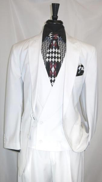 Two Button Style White Multi Stripe Mens Suit, act now only $175.00