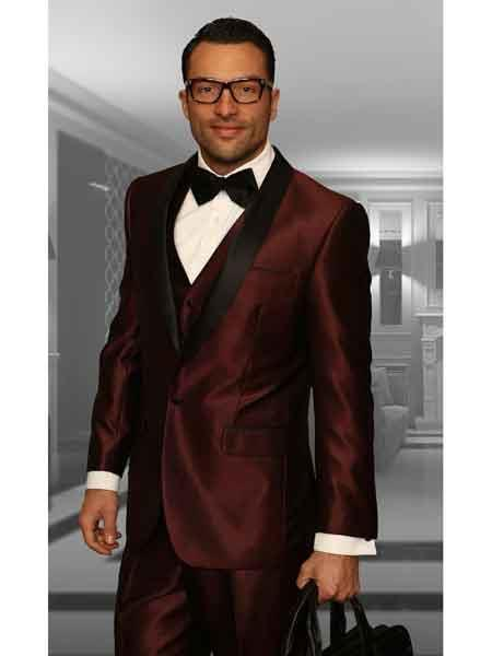 One Button Burgundy Shawl Lapel Three Piece Mens Tuxedo, act now only $175.00