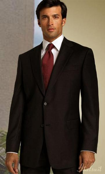 Two Button Style Two side pockets Brown polyester Mens Suit, act now only $199.00
