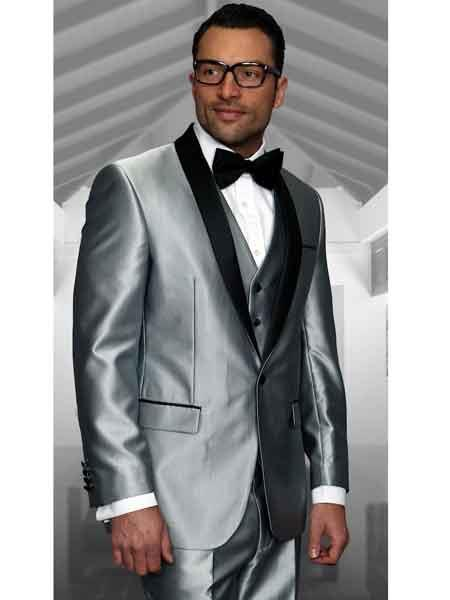 One Button Single Breasted Silver Shawl Lapel Mens Suit, act now only $175.00