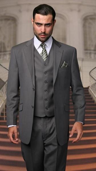 Two Button Oxford Gray Three Piece Regular Fit Mens Suit, act now only $199.00