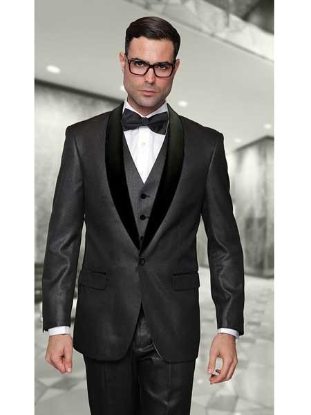 One Button Jet Black statement attire brand Mens Suit, act now only $175.00