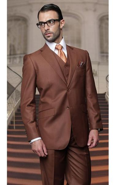 Two Buttons Copper Side Vent Notch Lapel Mens Suit, act now only $175.00