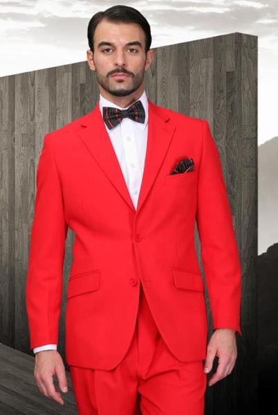 Two Button Style Red shade Superior Fabric Mens Suit, act now only $99.00