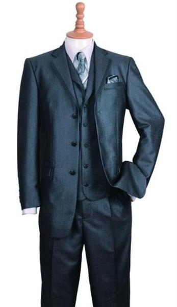 Three Button Style Notch Lapel Mens Liquid Jet Black Suit, act now only $135.00