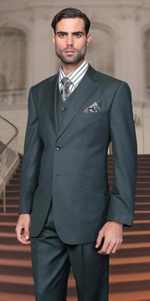 Two Button Hunter Green Three Piece Regular Fit Mens Suit, act now only $175.00