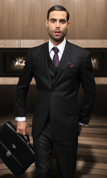 Two Button Style Solid Liquid Jet Black Wool Mens Suit, act now only $175.00