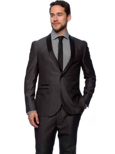 One Button Charcoal Satin Shawl Collar Mens Tuxedo, act now only $140.00