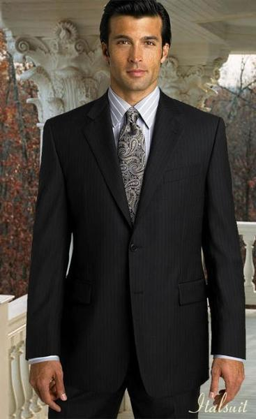Two Button Mens Liquid Jet Black Pleated Pants Suit, act now only $199.00