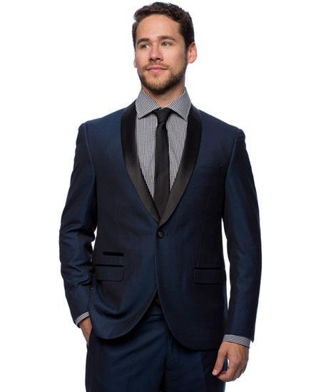 One Button Navy Satin Shawl Collar Slim Fit Mens Tuxedo, act now only $160.00