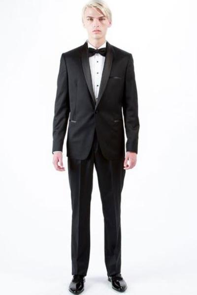 One Button Black Shawl Lapel Wool Fabric Mens Tuxedo, act now only $425.00