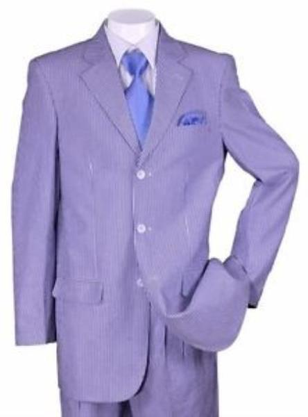 Mens Three Button Style Summer Blue SeerSucker Suit, act now only $135.00