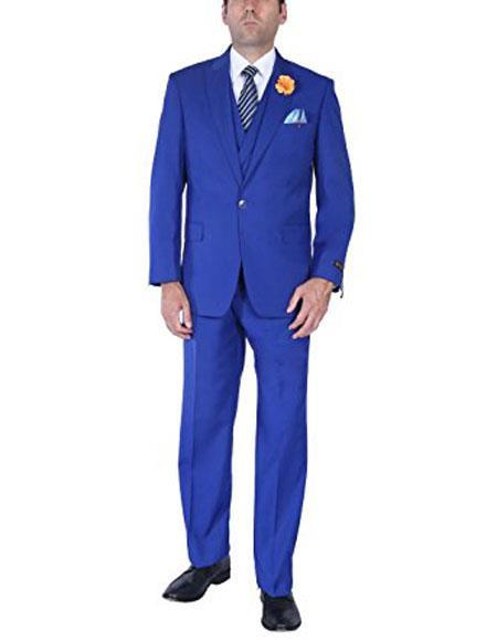 Single Breasted Royal Blue One button Mens suits, act now only $150.00