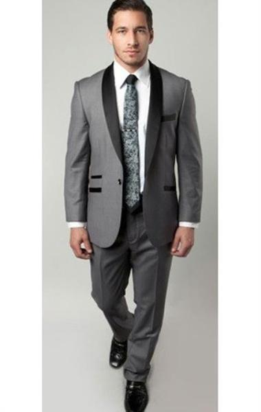 One Button Grey and Black narrow Style Fitted Mens Suit, act now only $175.00