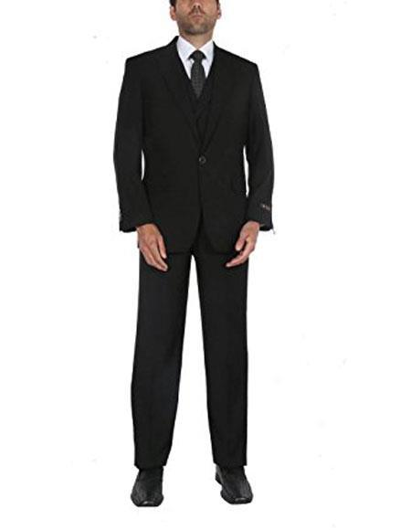 Besom Chest Pocket Black Pleated Pants Mens suit, act now only $150.00