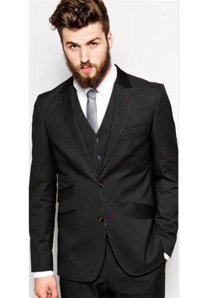 Two Button Closure Peak Lapel Suit In Black, act now only $495.00