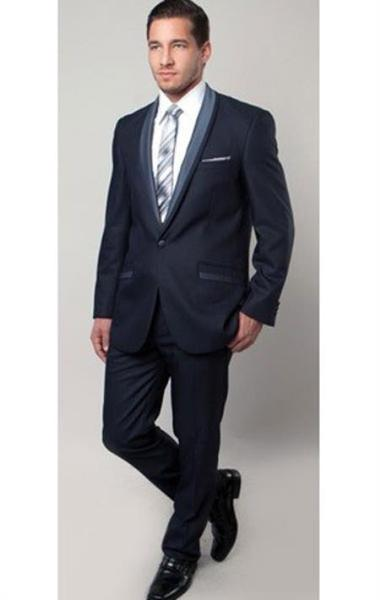 One Button Blue narrow Style Trimmed Mens Tuxedo, act now only $175.00