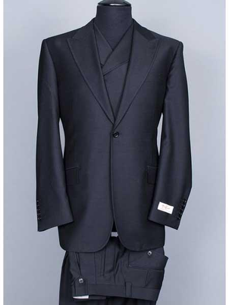 One Button Black Wool Single Breasted Mens Suit, act now only $400.00
