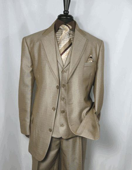 Three Button Single Breasted Mens Tan Sharkskin Suit, act now only $149.00