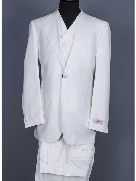 One Button Off White Double Breasted  Wool Suit For Mens, act now only $400.00
