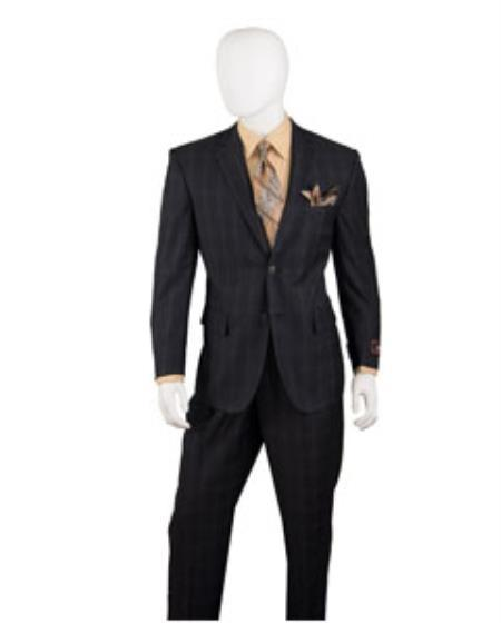 Mens Two Button Style Window Pane Suit In Black, act now only $125.00