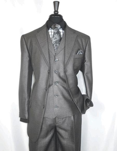 Notch Lapel Grey Three Button Style  Suit For Mens, act now only $149.00