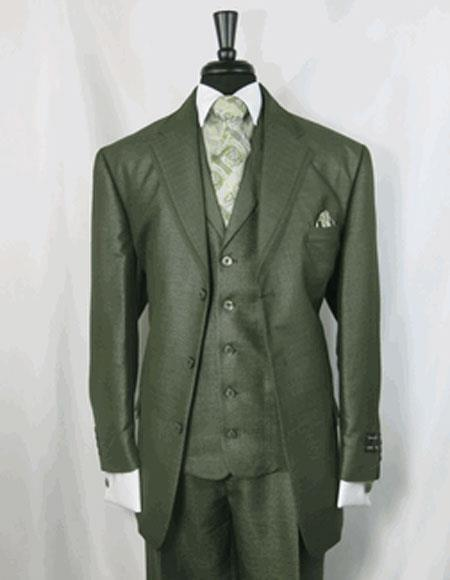 Single Breasted Mens Three Button Olive Green Suit, act now only $149.00