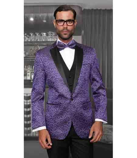One Button Mens Single Breasted Purple Modern Fit Tuxedo, act now only $199.00