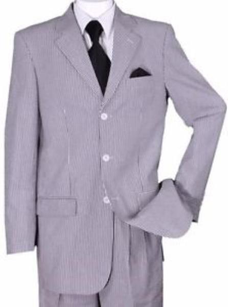 Mens Three Button Style Black Summer Seersucker Suit, act now only $135.00