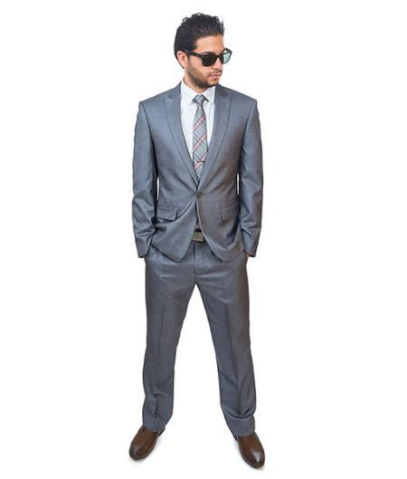 Single Button Style Grey Peak Lapel Slim Fit Mens Suit, act now only $165.00
