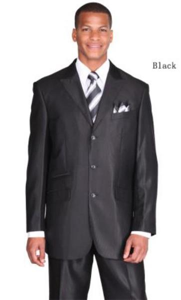 Black Navy Peak Lapel Three Button Style  Suit For Mens, act now only $115.00