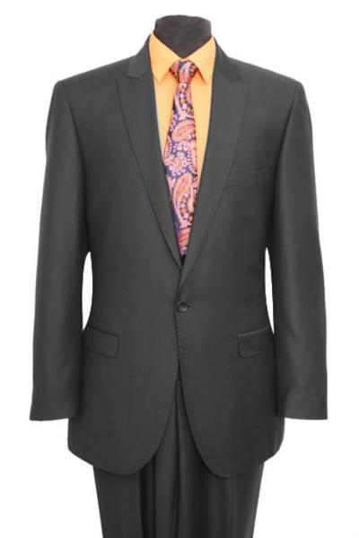 Dark Gray Tapered Leg Lower Rise Pants One Button Suit, act now only $165.00