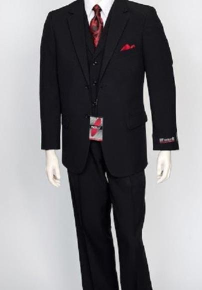 Two Button Style Single Breasted Black Mens Suit, act now only $159.00