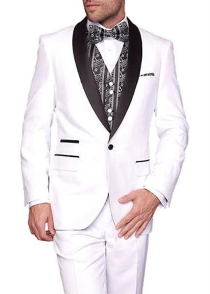 One Button Mens White Two Toned Lapel Three-Piece Tuxedo, act now only $240.00