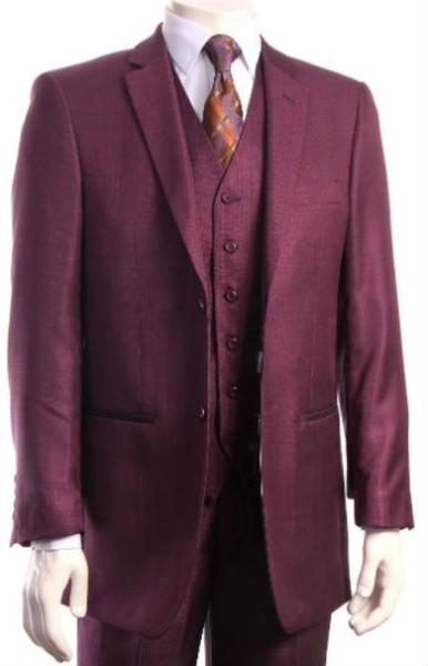 Two Button Style Burgundy Pleated Pants Regular Fit suit, act now only $175.00