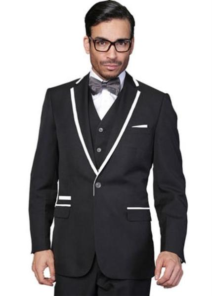 Black  Two Toned Wool Vested Mens One Button Tuxedo, act now only $240.00