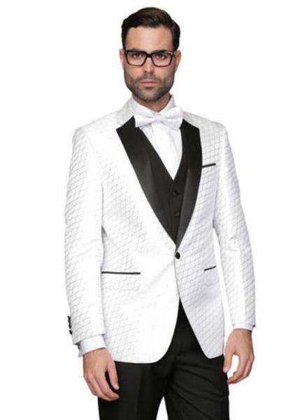 Mens White One Button Solid Tuxedo Fully Lined Suits , act now only $240.00