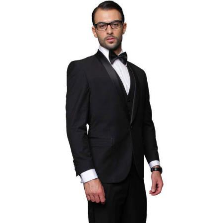 Black Two Toned Three Piece Single Breasted Mens Tuxedo, act now only $240.00